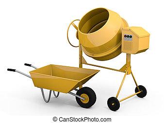 Concrete mixer and wheelbarrow - Yellow concrete mixer and...