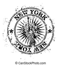 New York - Vector illustration of stamp or postmark style...