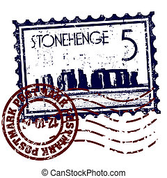 Stonehenge - Vector illustration of stamp or postmark style...