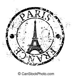Paris - Vector illustration of famous capitals stamp