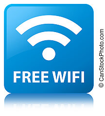 Free wifi cyan blue square button - Free wifi isolated on...