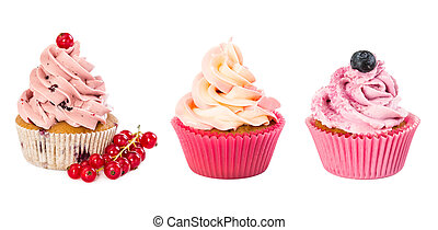 Set of various cupcakes isolated on white background.