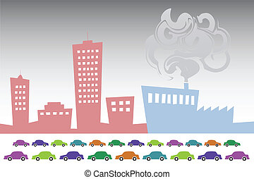 Smog City - Vector illustration of smog City