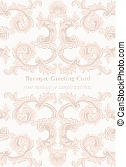 Luxury Baroque card ornament background Vector. Rich imperial intricate elements. Victorian Royal styles