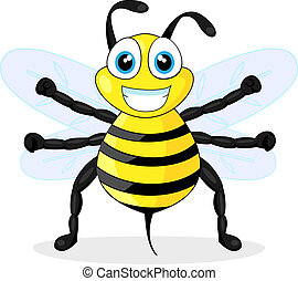cute bee - vector illustration of a cute bee No gradient