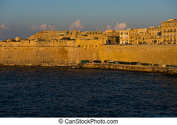 Ancient walls and buildings of Valetta fortification in the...