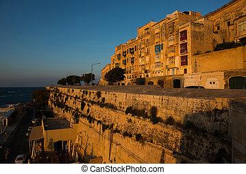 Valetta balconies, in late afternoon lights - Valetta...