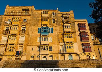 Valetta balconies, in late afternoon lights. Malta