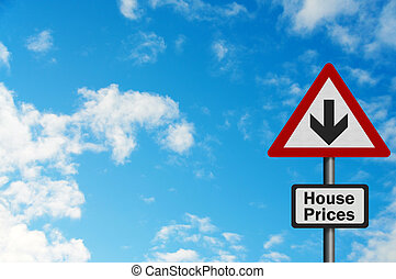 Photo realistic bright, clean 'falling house prices' sign with space for your text / editorial overlay