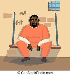 Prisoner Man Vector. Criminal Man Arrested And Locked....