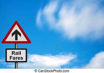 Photo realistic bright, clean 'increasing rail fares' sign with space for your text / editorial overlay
