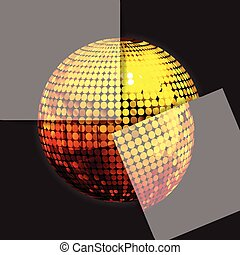 Golden disco ball on black with two panels