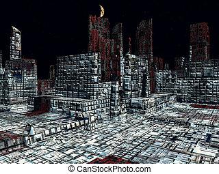 Alien City - fantasy urban structures 3d rendering - Alien...