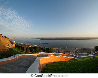 panoramic view of volga river from chkalov staircase in...