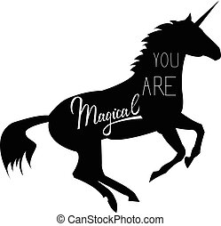 Unicorn mythical horse in silhouette. Unicorn with...