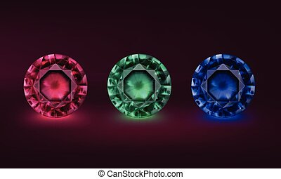 Colored precious stones - Vector illustration set of...