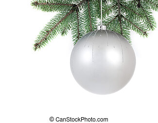 isolated christmass glass ball on tree - christmas series:...
