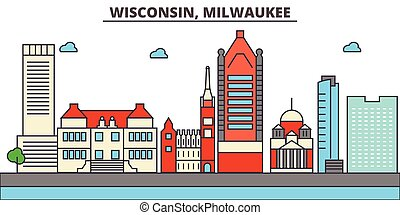 Wisconsin, Milwaukee City.City skyline: architecture, buildings, streets, silhouette, landscape, panorama, landmarks, icons. Editable strokes. Flat design line vector illustration concept.