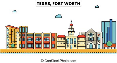 Texas, Fort Worth.City skyline: architecture, buildings,...