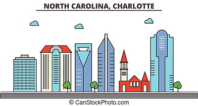 North Carolina, Charlotte.City skyline: architecture, buildings, streets, silhouette, landscape, panorama, landmarks, icons. Editable strokes. Flat design line vector illustration concept.