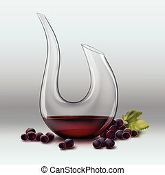 Decanter and grape - Vector decanter with wine ang red grape...