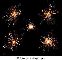 Sparkler - Collection of burning christmas sparklers...