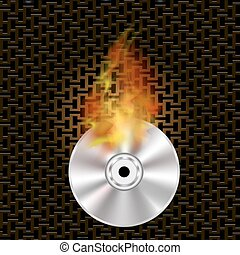 Grey Digital Burning Disc with Fire and Flame