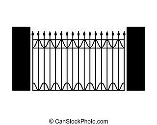 black forged gate- vector illustration