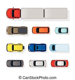 Cars Various Type Top or Above View Set - Colorful,...