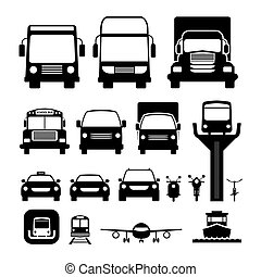 Vehicles, Cars and Transportation in Front View
