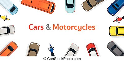 Cars and Motorcycles Top or Above View Frame - Various Type,...