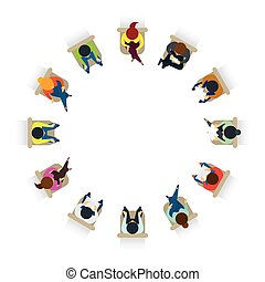 People Sitting on Chairs in Circle Form - Top or Above View,...