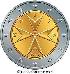 vector Maltese money gold euro coin two euro