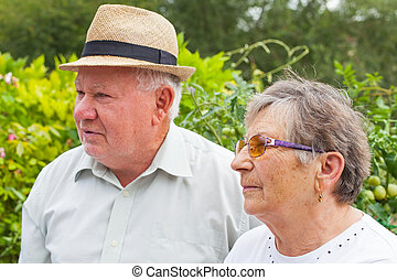 Elderly couple in the park - Happy elderly couple spending...