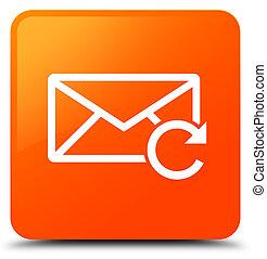 廣場, 按鈕, 刷新, 橙, 電子郵件, 圖象