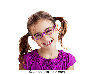 Girl with glasses - Beautiful girl wearing glasses isolated...