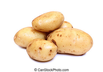 Raw potatos one - Raw potatos for eating on white background