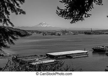 Montain Over Tacoma 3 - Mount Rainier rises up over the Port...
