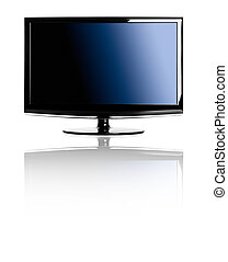Lcd TV - Modern lcd TV isolated over a white background with...