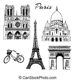 Paris sightseeing set. Eiffel tower, Arc de Triomphe,...