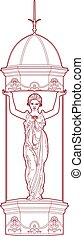 Red drawing of a caryatid - Vector illustration of a woman...