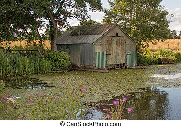 Abandoned boat shed - An old metal corrugated derelict boat...