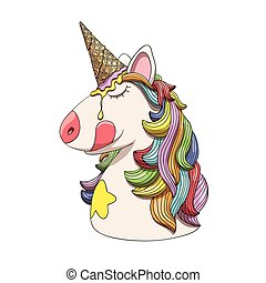 Unicorn character head portrait with rainbow hair and ice cream cone horn