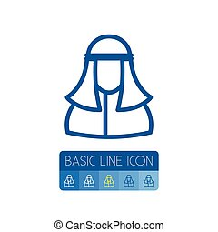 Isolated Person Outline. Muslim Vector Element Can Be Used...
