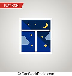 Isolated Night Sky Flat Icon. Frame Vector Element Can Be...