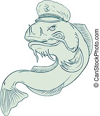 Captain Catfish Drawing - Drawing sketch style illustration...