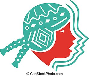 South American Girl Icon - Icon style illustration of...
