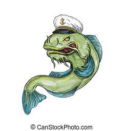 Captain Catfish Tattoo - Tattoo style illustration of a...