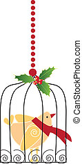 Christmas bird in cage