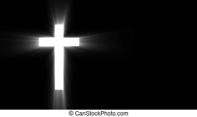 Christian cross with sun rays shine on the dark background...